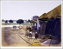 Frederick Fiebig Grain bazaar on the Chitpore Road, Calcutta, ca. 1850.